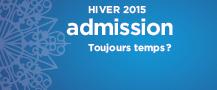 Admission pour l'hiver 2015